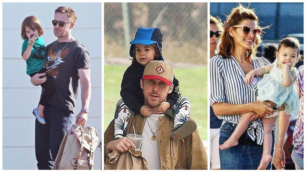 Eva Mendes and Ryan Gosling with Two Daughters